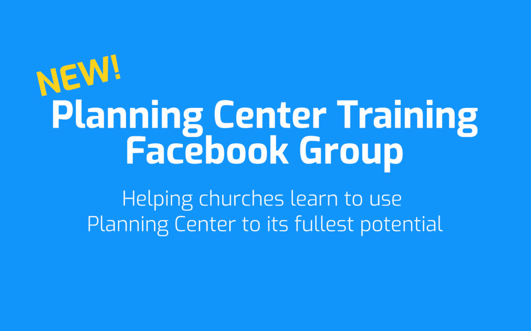 Planning Center Training Facebook Group