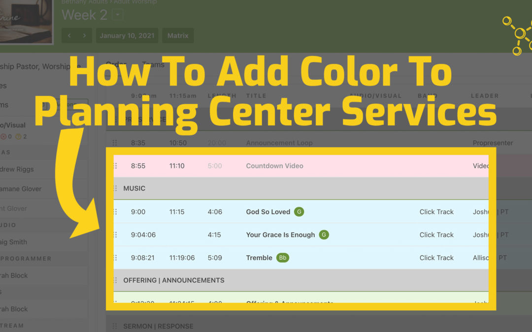How To Add Color To Planning Center Services